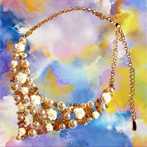 Gold Chain White Rose Pearl w/ Stones Necklace